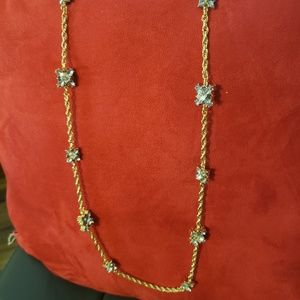 Gold Tone Purple Crystal long Necklace